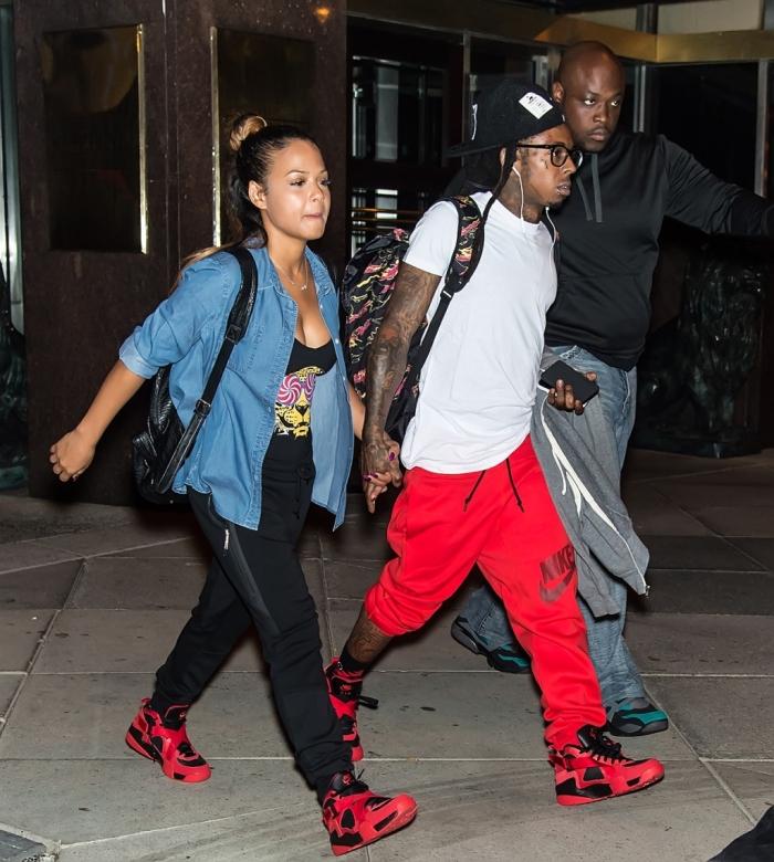 Lil Wayne and Christina Milian take romantic stroll on the streets of Philadelphia, PA.