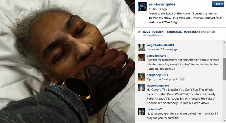 rapper kevin gates posts disturbing pic of deceased grandmother