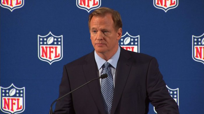 NFL Commissioner Roger Goodell held in press conference in New York on Friday, September 19th, 2014 to address the league's domestic violence issues.