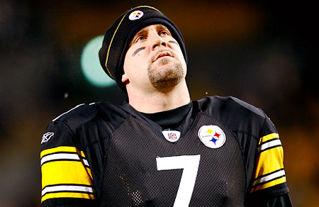 PITTSBURGH - JANUARY 18:  Ben Roethlisberger #7 of the Pittsburgh Steelers stands on the field during warm ups against the Baltimore Ravens during the AFC Championship game on January 18, 2009 at Heinz Field in Pittsburgh, Pennsylvania.  (Photo by Streeter Lecka/Getty Images)   Original Filename: GYI0056524403.jpg