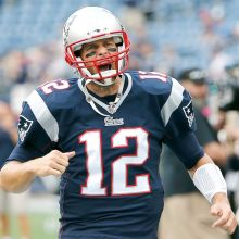 Sep 21, 2014; Foxborough, MA, USA; New England Patriots quarterback Tom Brady (12) takes the field for their game against the Oakland Raiders at Gillette Stadium. Mandatory Credit: Winslow Townson-USA TODAY Sports